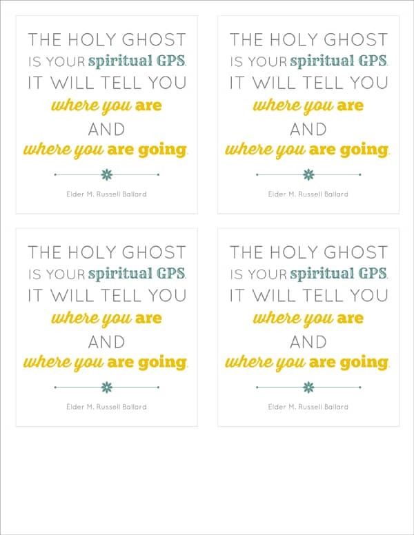 FREE printable quote from M Russell Ballard - the Holy Ghost as spiritual GPS