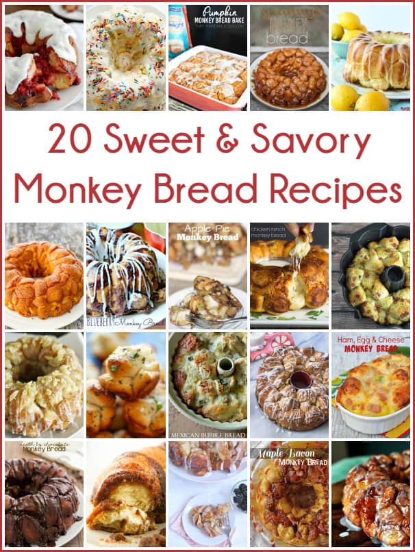 20 Sweet & Savory Monkey Bread Recipes -- these are sure to get your mouth watering!