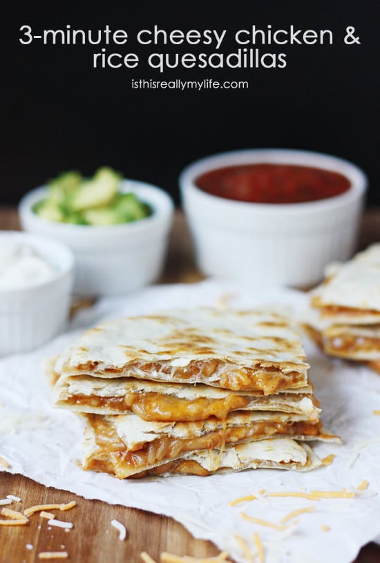 3-Minute Cheesy Chicken & Rice Quesadillas -- one of my favorite go-to meals when I'm in a hurry. So easy and so yummy!