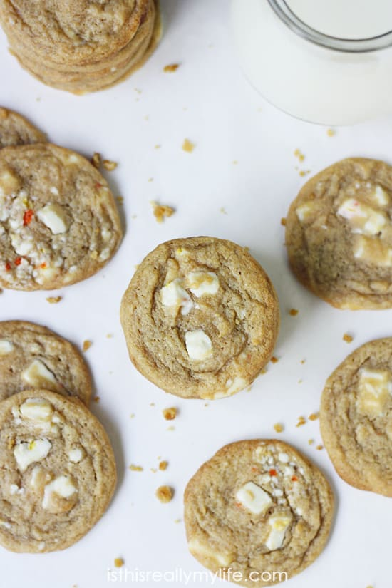 Candy Corn Creme Cookies -- creamy white chocolate chunks with a hint of candy corn flavor.