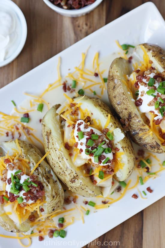 Cheesy Double Potato Baked Potato - quick and easy lunch in less than 15 minutes!