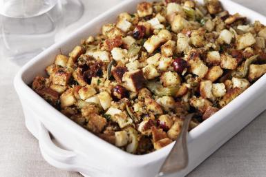 Homemade oven-baked stuffing with fresh sage