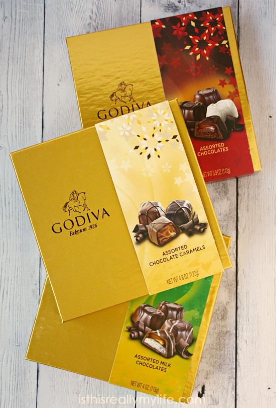 GODIVA holiday gift boxes -- add a bow and you have a simple holiday gift!