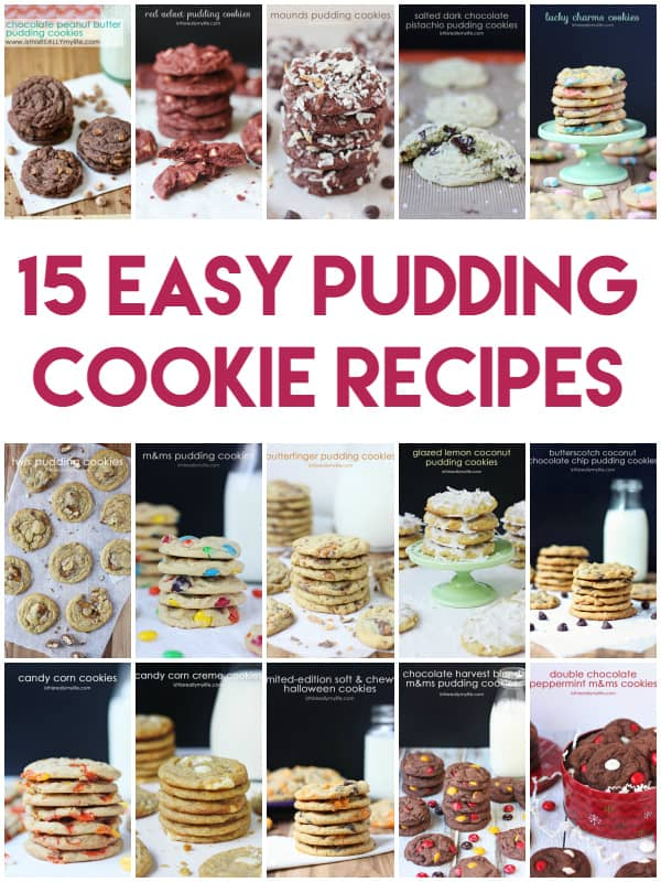 15 Easy Pudding Cookie Recipes - a ton of different combinations of pudding flavors and mix-ins. The most forgiving cookie dough recipe you can make!