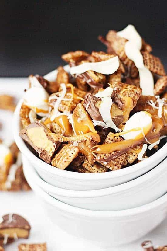 Better Than Sex Chex Mix -- Better than sex Chex mix features Chocolate Chex cereal, peanut butter cups, caramel, and two kinds of chocolate with a sprinkling of coarse sea salt. I'm not gonna lie, it's fairly orgasmic. | halfscratched.com #chexmix #recipe #dessert