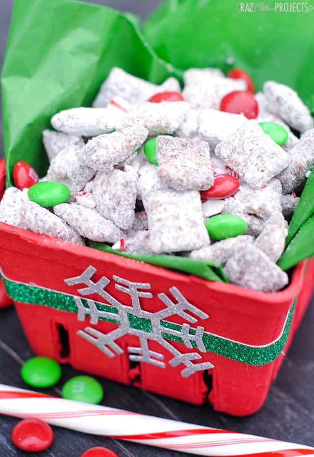 Chocolate candy cane muddy buddies
