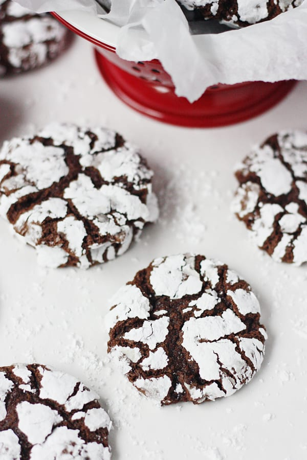 Decadent Double Chocolate Crinkle Cookies -- The best chocolate crinkle cookie recipe you will ever bake! | halfscratched.com