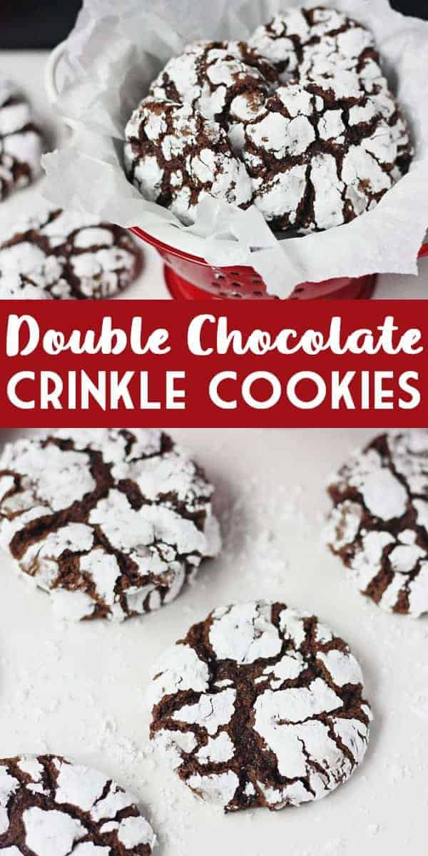 Decadent Double Chocolate Crinkle Cookies - I've taken your classic chocolate crinkles recipe and added instant espresso powderand& mini semisweet chocolate chips for a truly decadent cookie! #halfscratched #crinklecookies #crinkles #chocolate #baking #cookies #cookierecipe #recipe