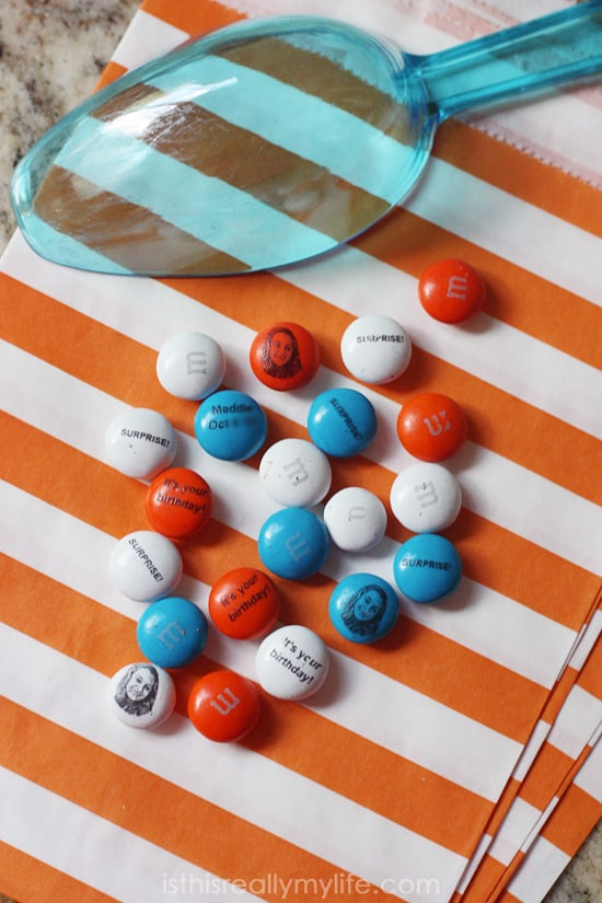 MY M&Ms birthday party -- loved using personalized M&Ms for a surprise 18th birthday party!