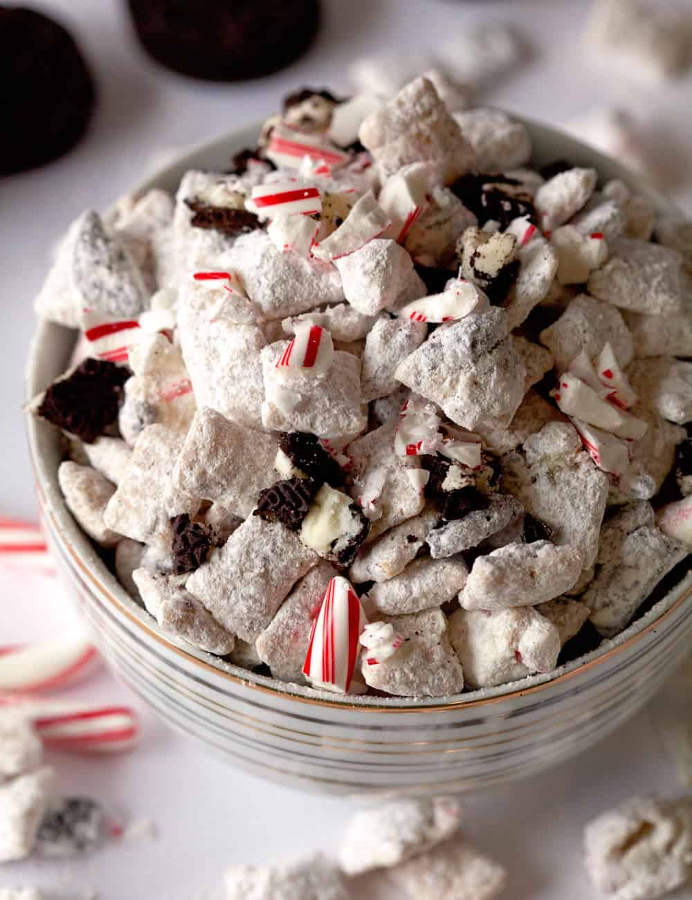 Peppermint Oreo muddy buddies