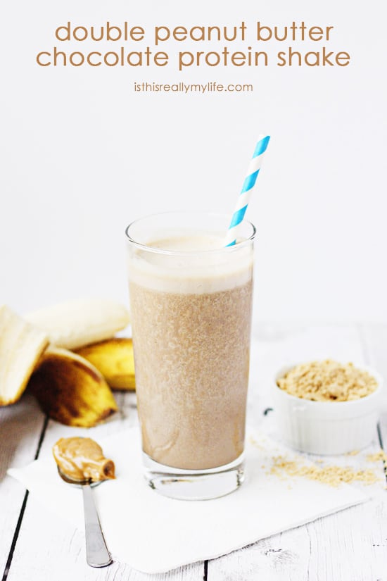 Double Peanut Butter Chocolate Protein Shake -- packed with over 30 grams of protein and less than 13 grams of sugar (8 grams from banana). Delicious chocolate peanut butter smoothie taste!