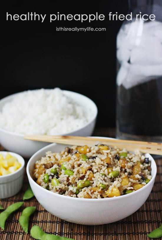 Healthy Pineapple Fried Rice -- a healthier version of your standard fried rice recipe. Tastes even better thanks to fresh pineapple, portobello mushrooms and edamame.