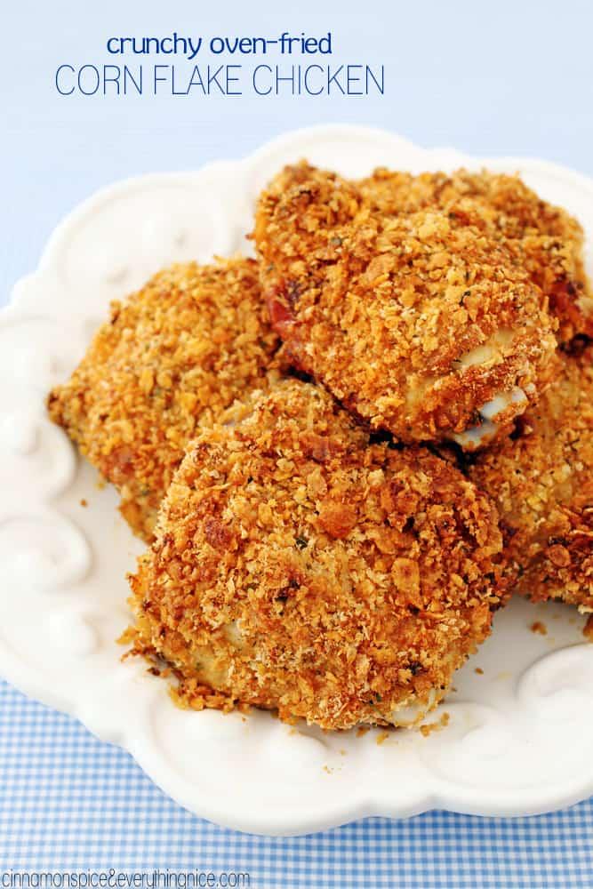Crunchy corn flake oven fried chicken