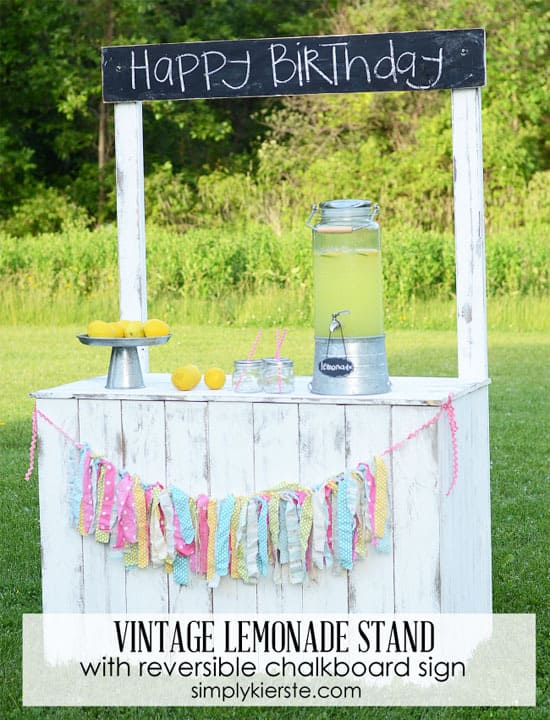 Vintage lemonade stand with reversible chalkboard sign