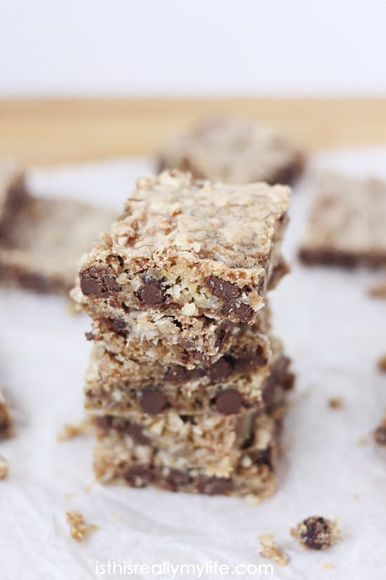 Coconut Chocolate Chip Saucepan Bars -- you make the cookie dough in a saucepan before spreading it into a 9x13 to bake. Some of the best bar cookies I have ever devoured!