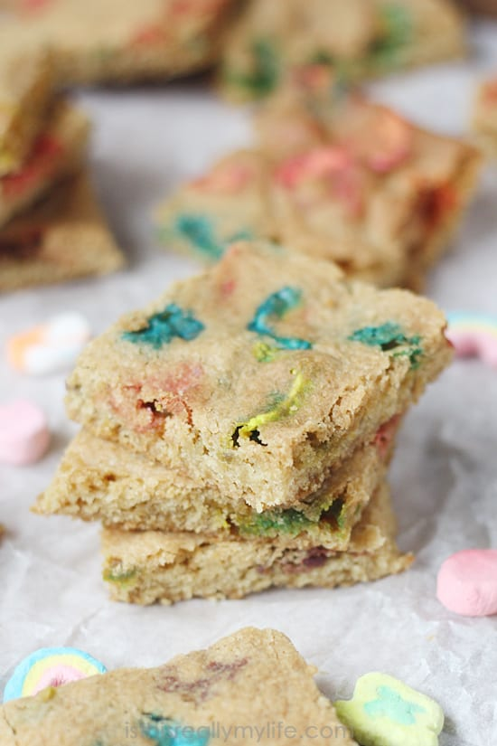 Lucky Charms Bar Cookies -- soft, chewy and super colorful. Perfect for St Patricks Day or any day if you are a fan of Lucky Charms!