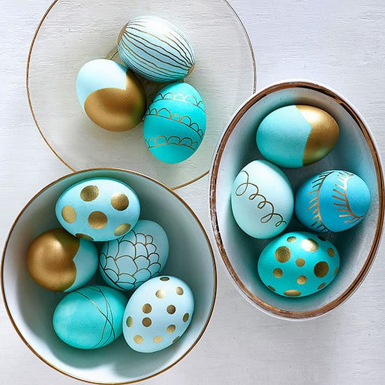 Metallic dipped Easter eggs