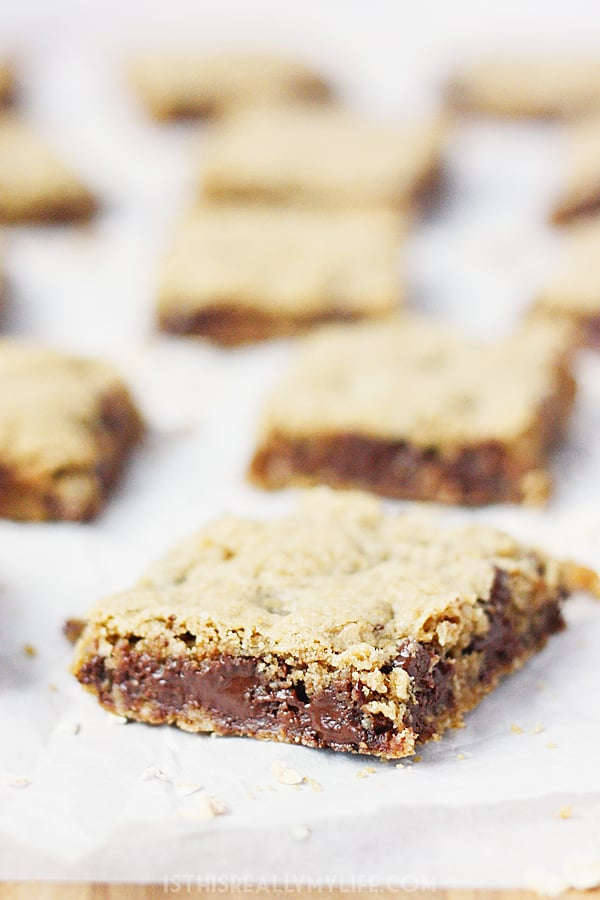 Chewy Chocolate Chip Oatmeal Bars -- Chewy chocolate chip oatmeal bar cookies are the perfect after-school treat, potluck dessert or late-night snack! | halfscratched.com