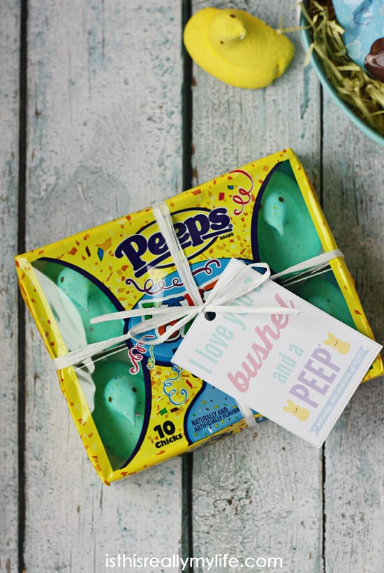 Bushel and a PEEP Free Easter Printable Gift Tag -- quickly and easily turn a package of PEEPS into a perfectly sweet gift for friends, teachers and neighbors!