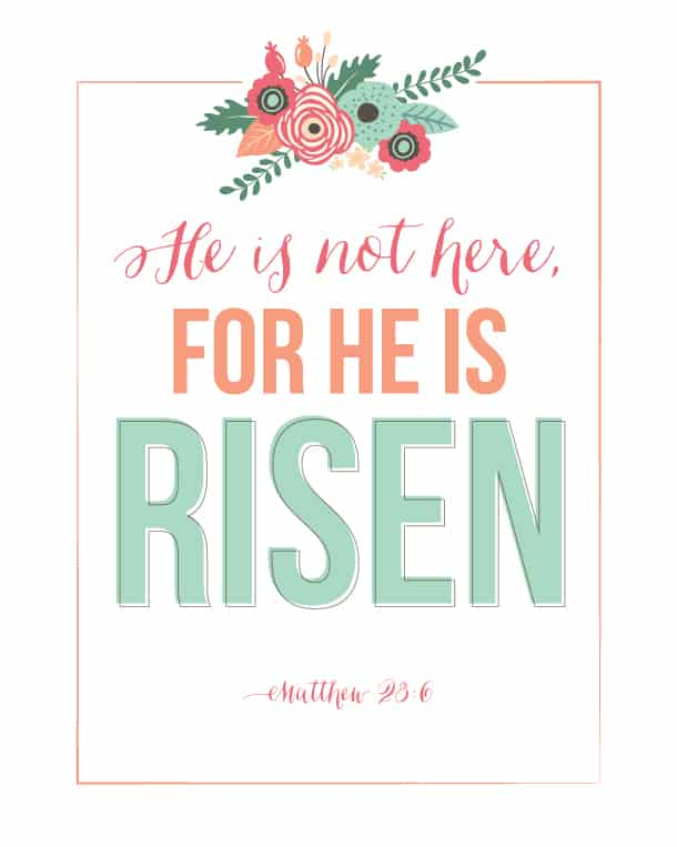 He Is Risen Easter printable from Landeelu