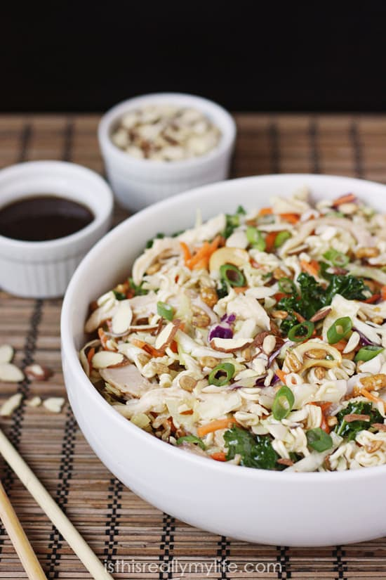 The Best Asian Ramen Chicken Salad Ever -- power up the taste and nutrients of Asian ramen salad with 6 superfoods, rotisserie chicken and a to-die-for dressing!