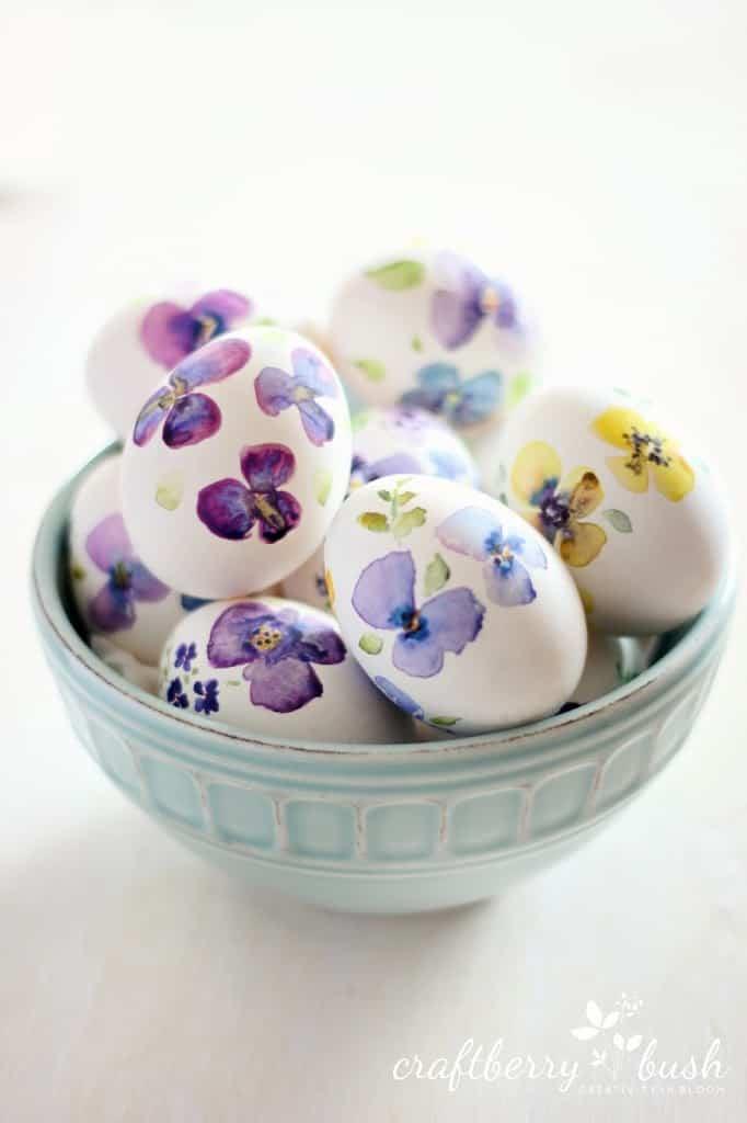Watercolor pansies eggs