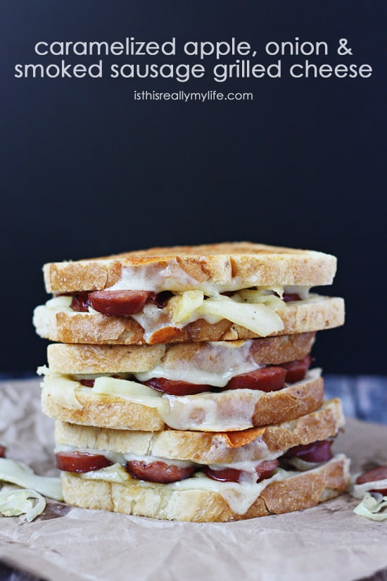 Caramelized Apple Onion and Smoked Sausage Grilled Cheese Sandwich -- in less than 30 minutes you can have a delicious, very gourmet tasting, grilled cheese sandwich. The perfect way to celebrate National Grilled Cheese Month!