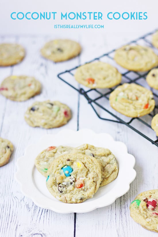 Coconut monster cookies -- a tasty variation of the tradition monster cookie. It features peanut butter chips, chocolate chips, M&Ms and coconut. So yummy!
