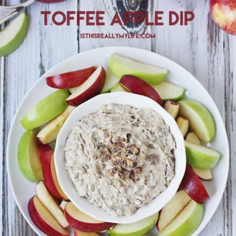 Toffee Apple Dip -- only 5 ingredients and 5 minutes for the most decadent dessert dip. Perfect with apples, graham crackers, pretzels...the options are endless!