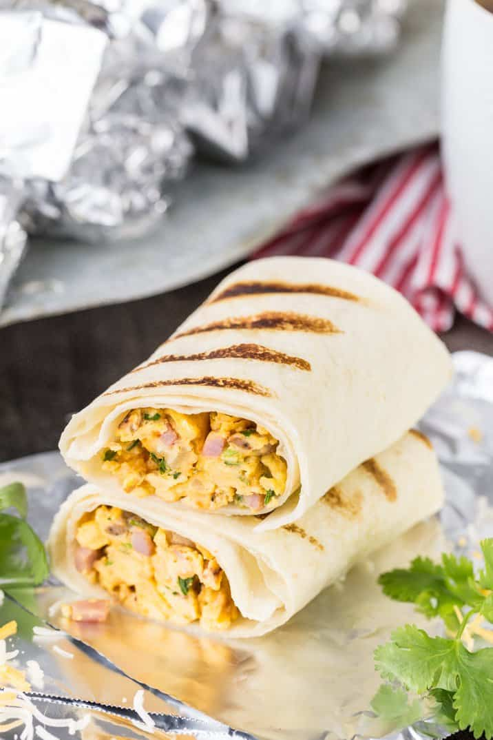 Southwest make ahead breakfast burritos