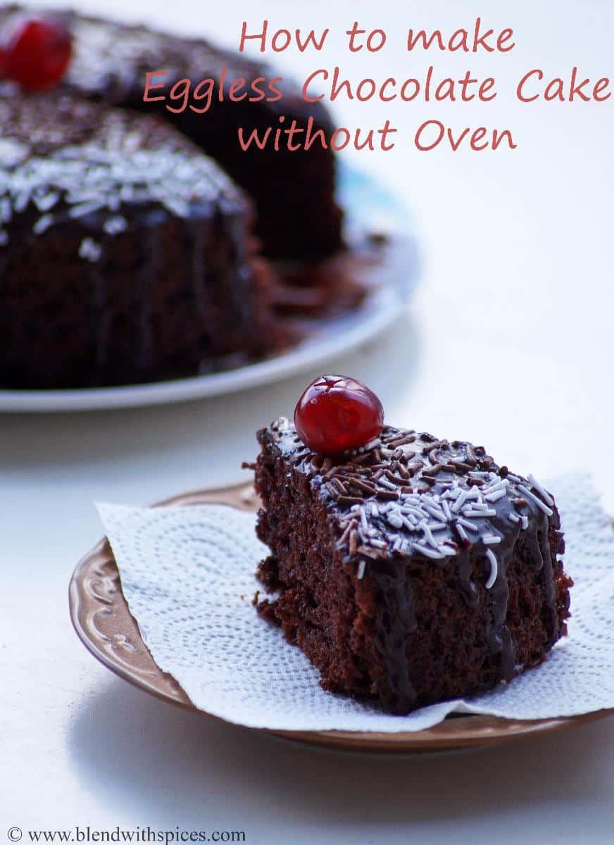 Eggless chocolate cake in the pressure cooker