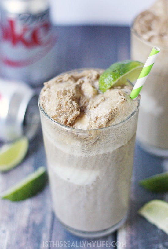 Dirty Diet Coke Float -- If you are a fan of non-alcoholic dirty Diet Coke, you'll love this dirty Diet Coke float. Diet Coke, coconut gelato and a splash of lime!