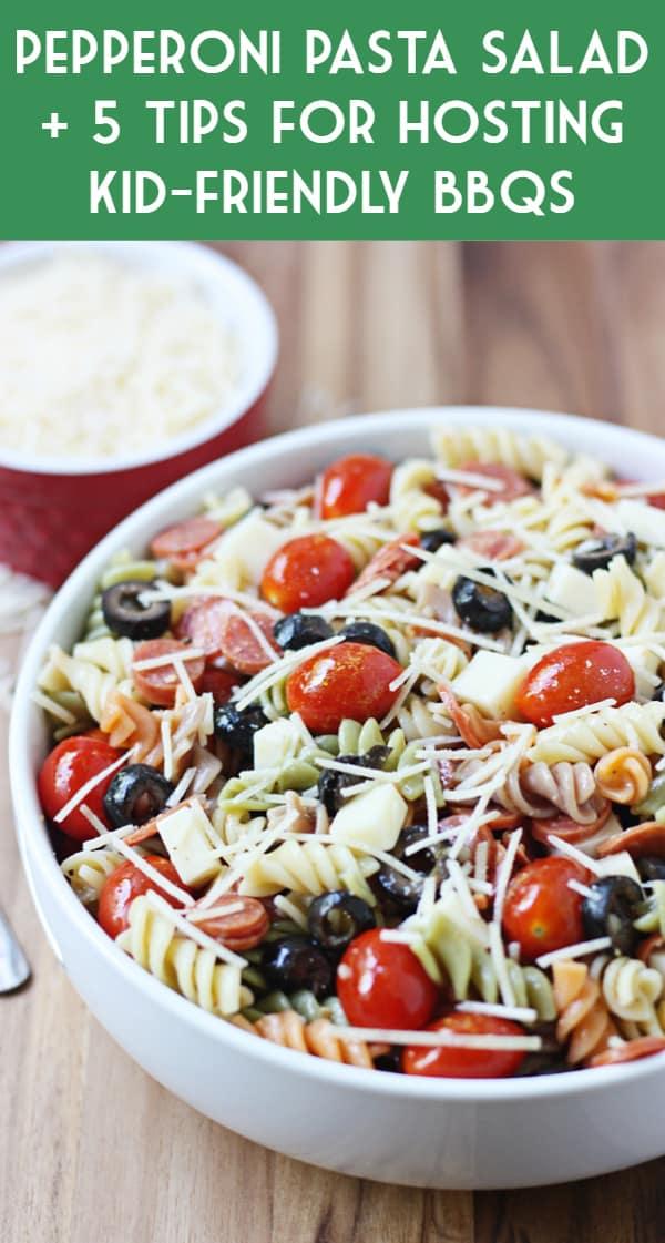 Pepperoni Pizza Pasta Salad   halfscratched.com #pastasalad #pasta #pizza #peppersoni #salad #recipe #sidedish