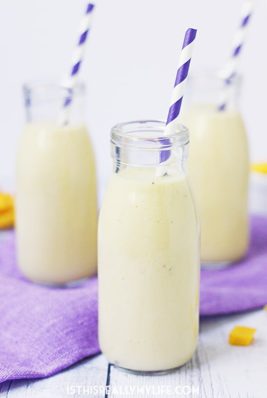 Pineapple Coconut Mango Smoothie -- This smoothie has only five ingredients and is packed with antioxidants and vitamins. It features fresh or frozen mango, frozen pineapple, Greek yogurt, coconut milk and banana. So yummy and great for workouts!
