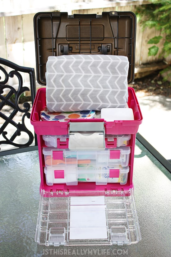 Genius Way to Organize Picnic Supplies -- Organize essential picnic supplies, from bug spray and blankets to plates and plasticware, by turning your craft organizer into a picnic caddy.