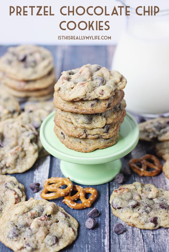 Pretzel Chocolate Chip Cookies -- Harry & Horsie's CookieBot would have no problem inhaling these pretzel chocolate chip cookies. They're soft, chewy and chocolaty with the right amount of crunch!
