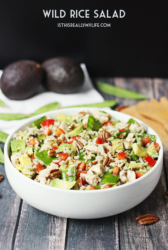 Wild Rice Salad - This wild rice salad is the perfect summer dish with its diced chicken, red bell pepper, snow peas, avocado and toasted pecans.