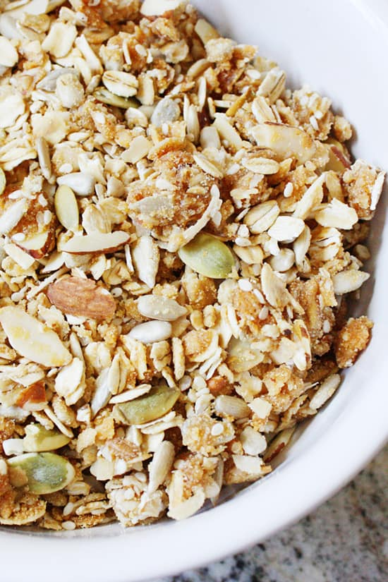 Deer Valley Granola -- This Deer Valley granola combines oats and coconut with a variety of yummy nuts and seeds. Toss all that with a brown sugar-honey glaze and then bake for one of the best homemade granola recipes you'll ever taste!