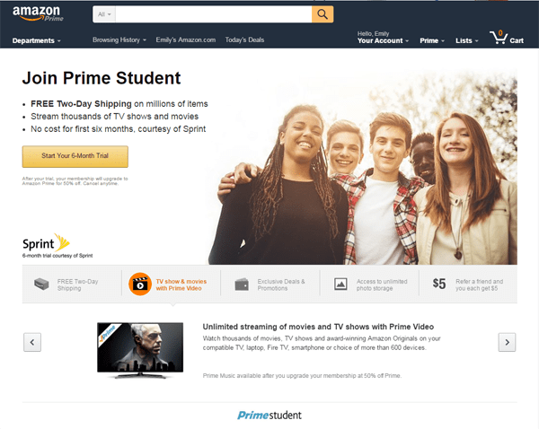 A.: Amazon Student offers the same benefits as regular Amazon Prime ($99 per year), at a discount. It is available to students enrolled in at least one class in a college or university in the.