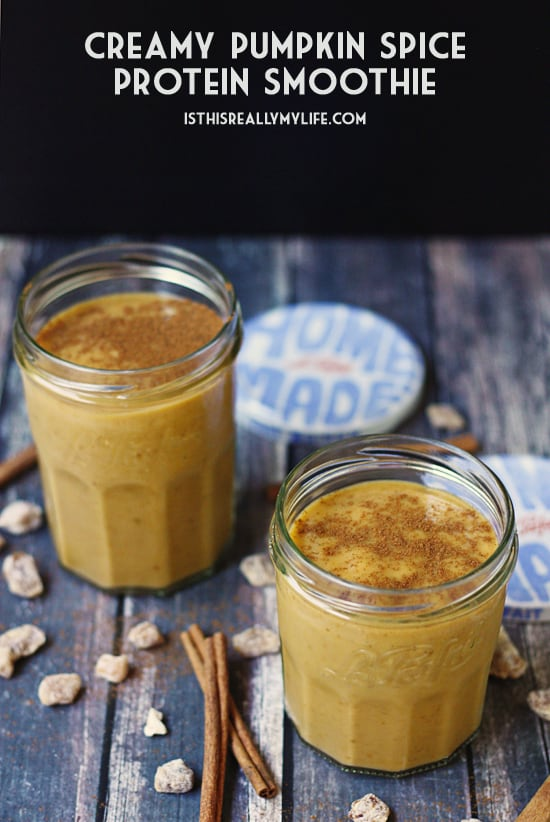 Creamy Pumpkin Spice Protein Smoothie - This pumpkin spice protein smoothie combines creamy pumpkin and spices with almond milk and dates for a fall-inspired on-the-go breakfast.