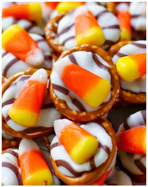 Candy corn pretzel hugs