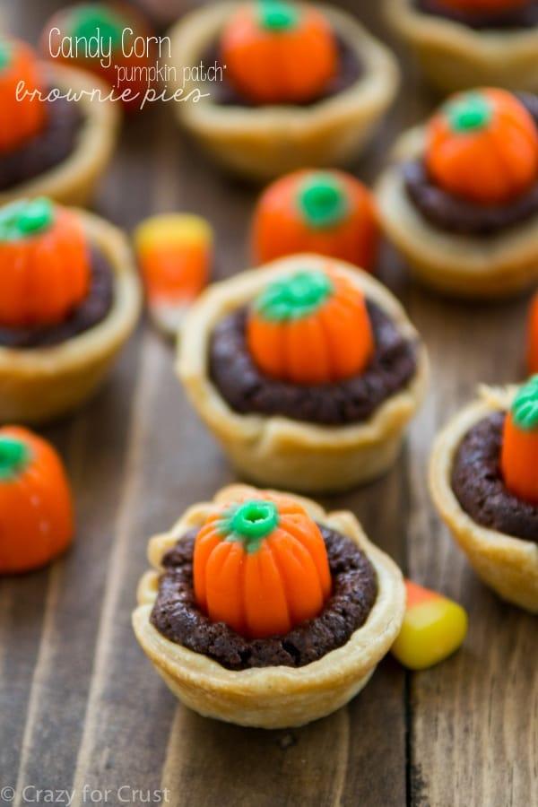 Candy corn pumpkin brownie pies