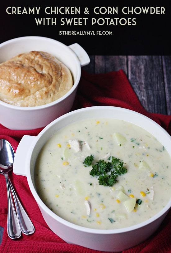 Creamy Chicken and Corn Chowder with Sweet Potatoes -- This creamy chicken and corn chowder with sweet potatoes is flavorful and family friendly. Pair it with freshly-baked bread and salad for the perfect weeknight meal.