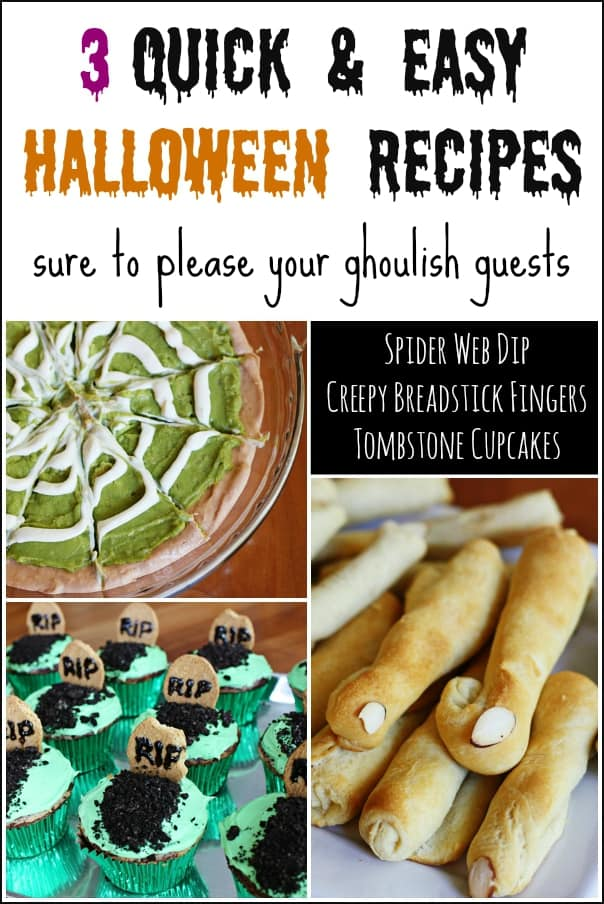 Three quick and easy Halloween recipe - spider web dip, tombstone cupcakes and witch fingers.