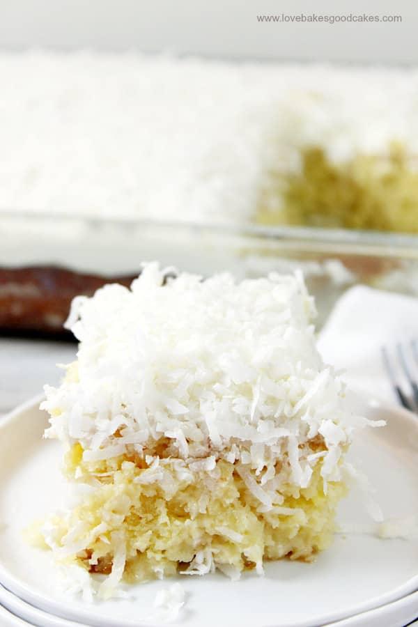 Coconut cream poke cake from Love Bakes Good Cakes