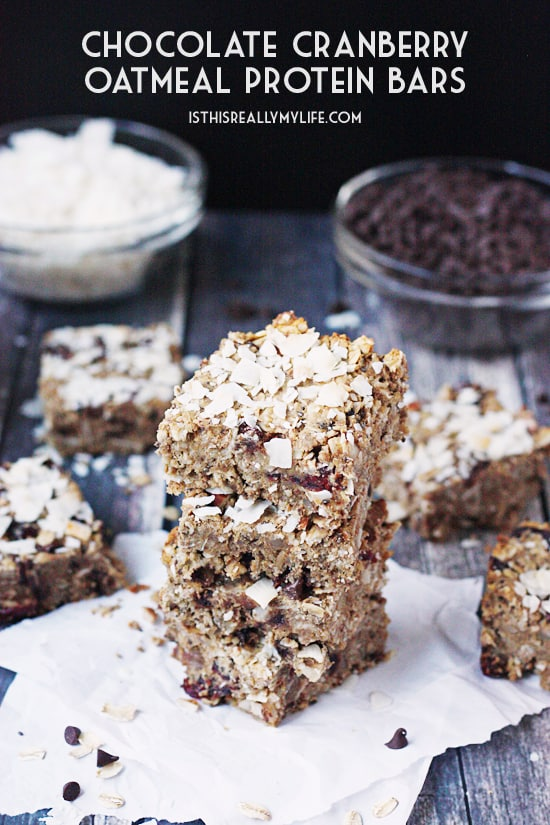 Chocolate Cranberry Oatmeal Protein Bars -- These chocolate cranberry oatmeal protein bars include almonds, peanut butter and coconut and make for a healthy and delicious snack or on-the-go breakfast.