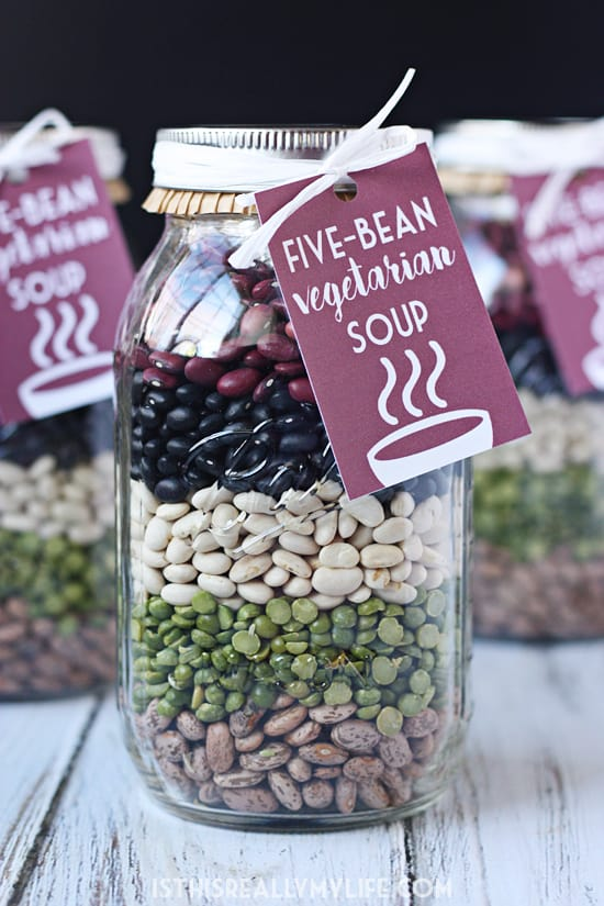 Five-Bean Vegetarian Soup Mix in a Jar -- This five-bean vegetarian soup mix in a jar requires minimal effort and minimal cost and is absolutely delicious, which basically makes it the perfect gift!
