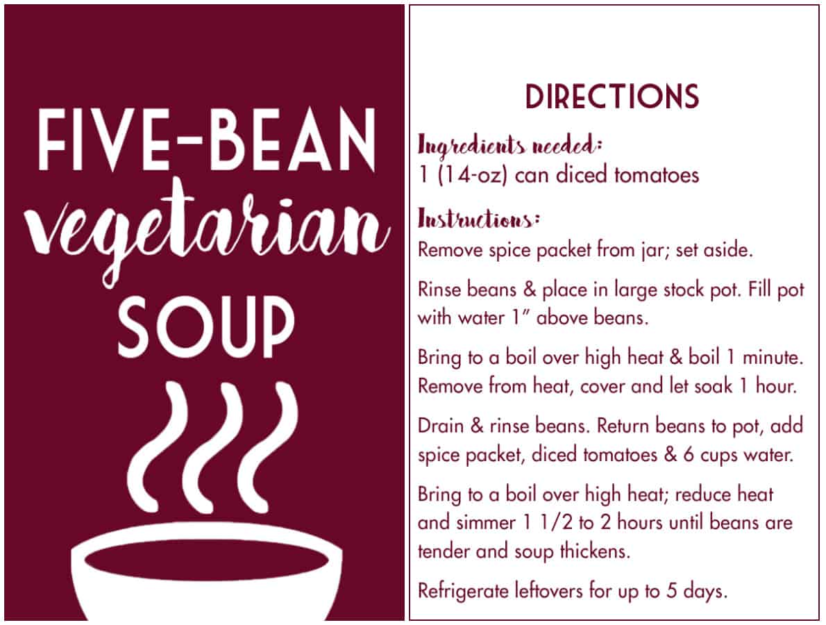 Five-Bean Soup Mix in a Jar gift tag