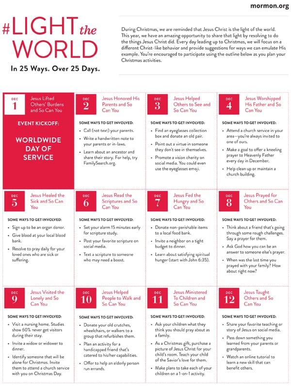 LIGHTtheWORLD campaign calendar page 1 #lighttheworld