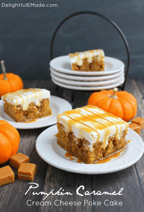Pumpkin caramel cream cheese poke cake from Delightful E Made